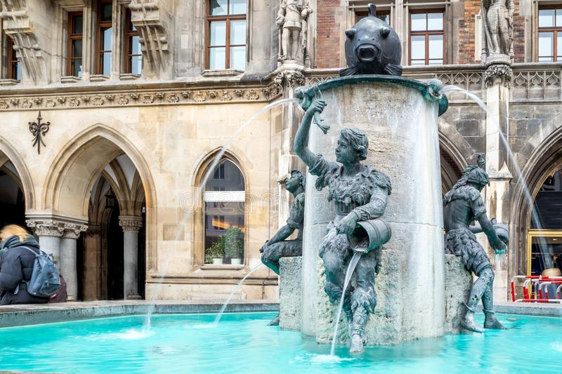 The famous fish fountain, Fischbrunnen, on the famous square of Marienplatz.  royalty free stock image