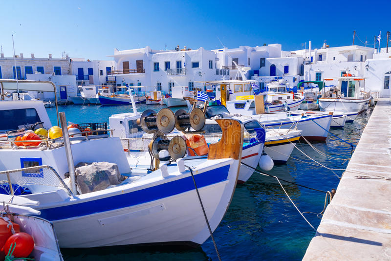 Famous fishing port in Naoussa, Paros island, Greece royalty free stock photos