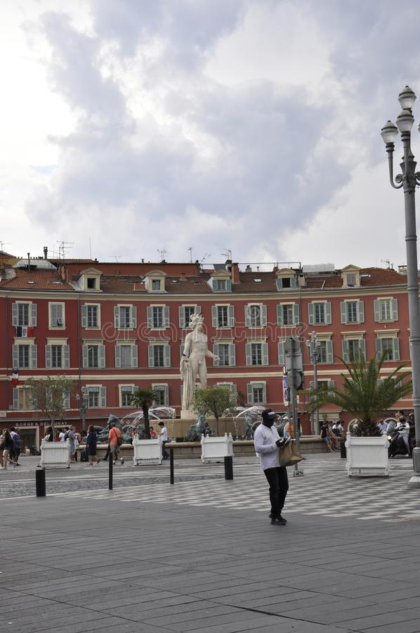Nice, 4th september: Fountain Du Soleil on Massena Square from Nice in France. Famous Fountain du Soleil on Place Massena in  Metropola Nice from French Riviera stock image