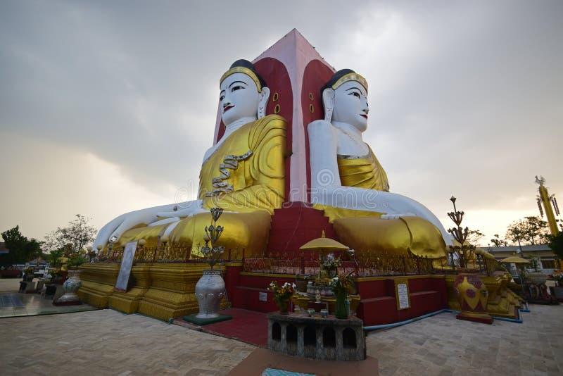 Famous four face Buddha of Kyaik Pun Pagoda Bago stock images