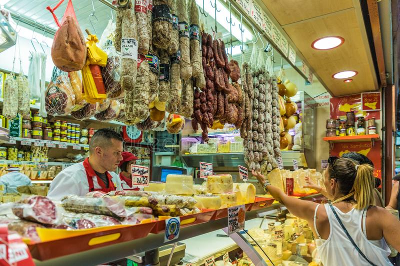 The famous friday market in Ventimiglia in Italy. Ventimiglia Italy. June 14 2019. A view of a deli counter at the famous friday market in Ventimiglia in Italy royalty free stock photos