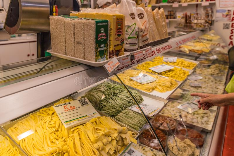 The famous friday market in Ventimiglia in Italy. Ventimiglia Italy. June 14 2019. A view of pasta for sale at the famous friday market in Ventimiglia in Italy royalty free stock image