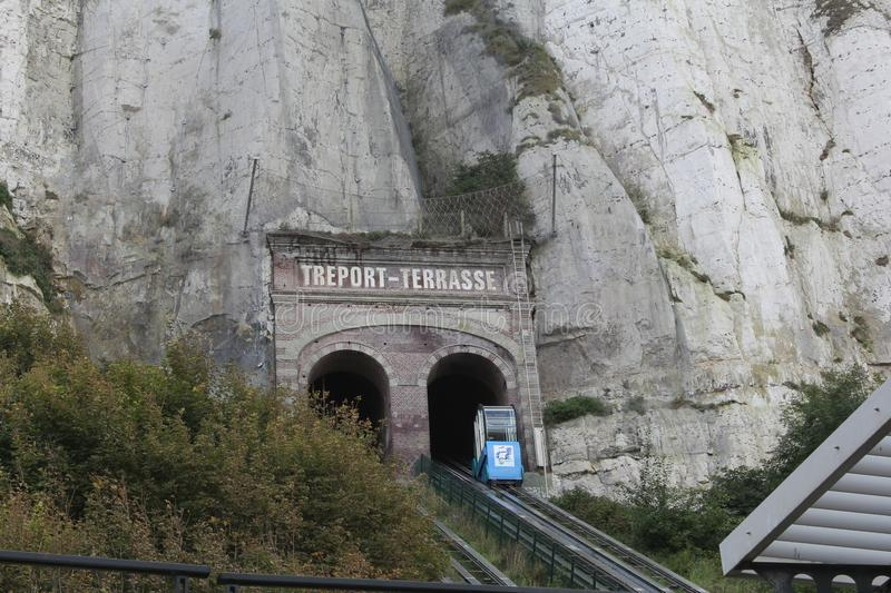 The famous funicular for the tourist in le treport, near Dieppe, Normandy, France stock photos