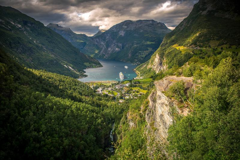Famous Gejrangerfjord Norway. Famous Gejrangerfjord and the Village of Geiranger, Norway royalty free stock photography