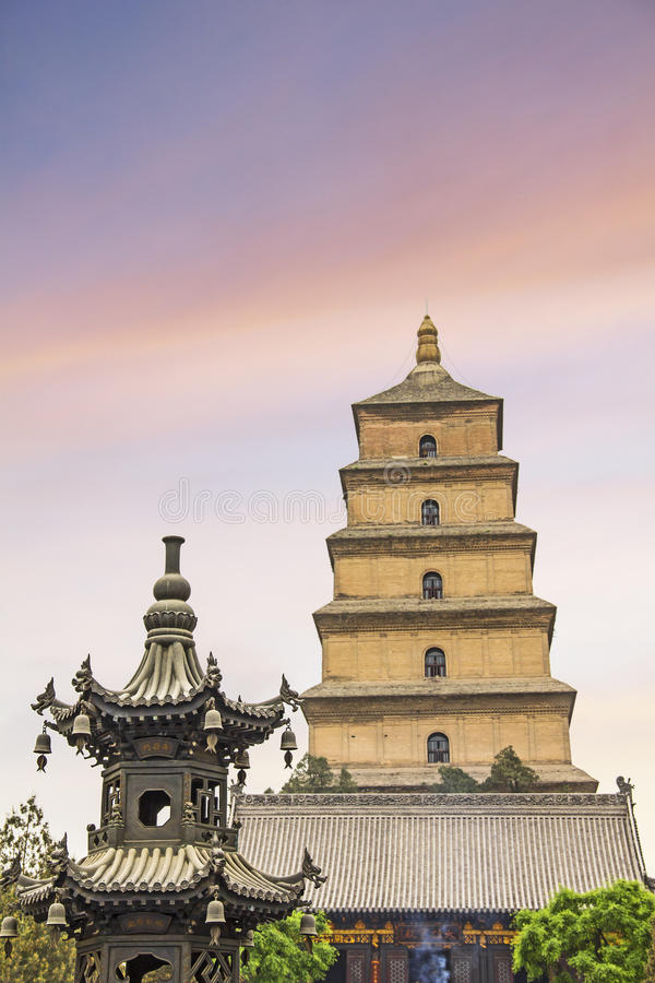 The famous Giant Wild Goose Pagoda. Xian, China royalty free stock photo