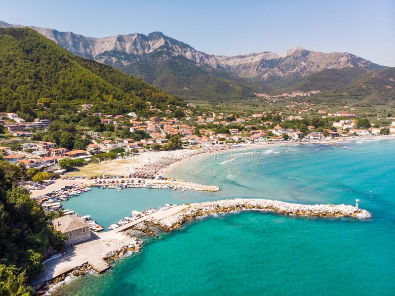 The famous Golden Beach as seen from above. Thasos, Greece, Aegean Sea royalty free stock photos