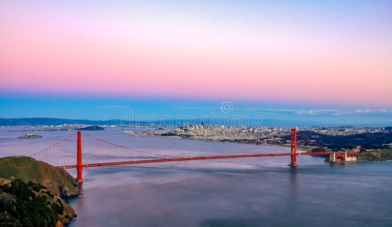 Famous Golden Gate Bridge view from Marin Headlands at sunset, S. An Francisco stock photo
