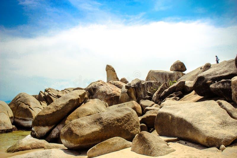 Famous Grandfather rock on Lamai Beach. Koh Samui royalty free stock photography
