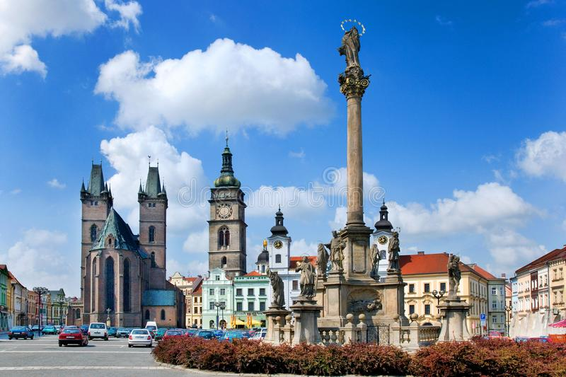 Famous Great square with White tower, town hall, gothic saint Sp. Famous Great square with White tower, town hall, gothic Church of the Holy Spirit, historical royalty free stock photography