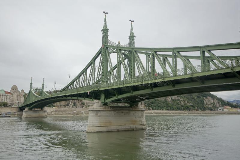 Famous Green Bridge in Budapest. The famous Green Bridge in Budapest. Danube river. The iron bridge. View of Pest royalty free stock photography