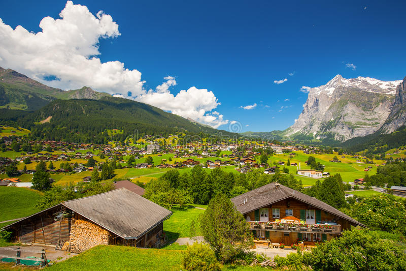 Famous Grindelwald valley, green forest, Alps chalets and Swiss Alps, Berner Oberland, Switzerland. View to famous Grindelwald valley, green forest, Alps chalets royalty free stock photos