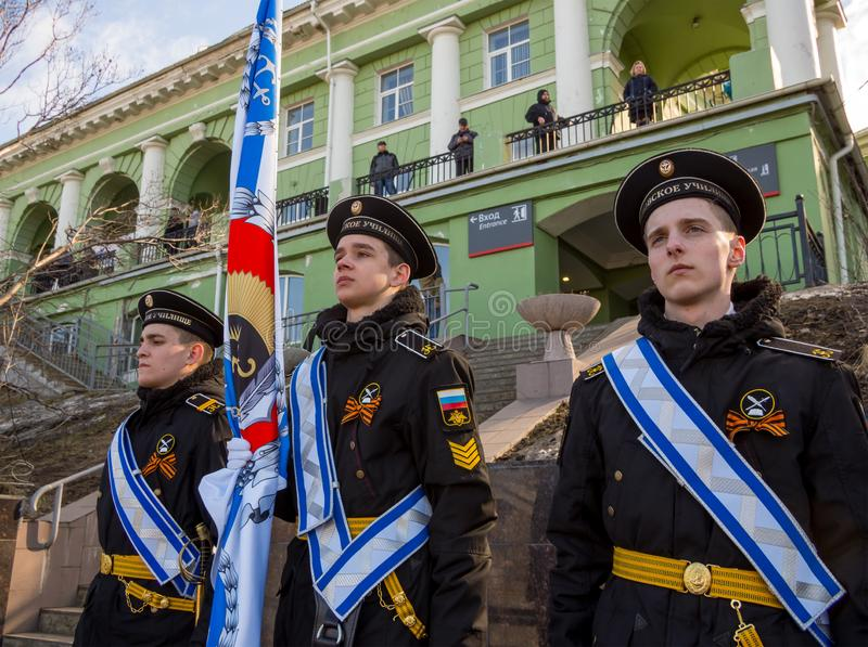 The famous group of cadets of the Nakhimov Naval School stock photography
