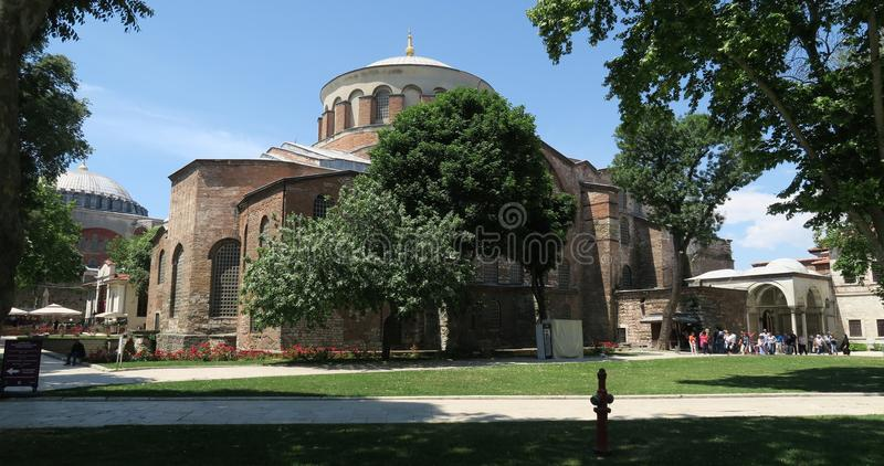 Famous Hagia Irene - a former Eastern Orthodox Church in Topkapi Palace Complex, Istanbul, Turkey. Hagia Irene is a former Eastern Orthodox Church in Topkapi stock photography