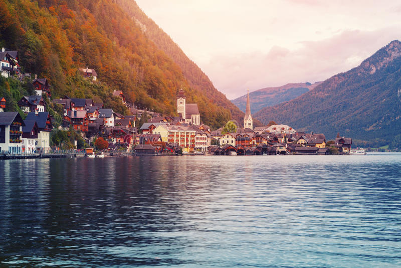 Famous Hallstatt mountain village with Hallstatt lake at morning. In Austria royalty free stock photo