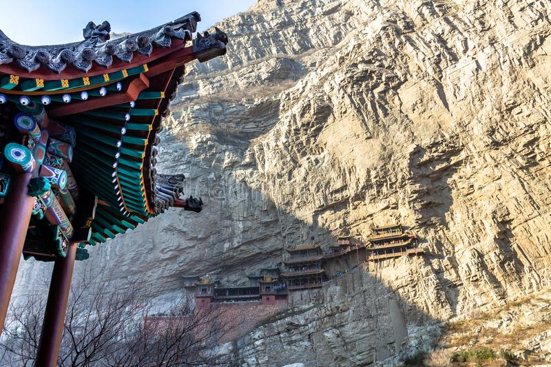 The famous hanging monastery near Datong, Shanxi province, China. The famous hanging monastery near Datong, one of the most visited religious sites of Shanxi royalty free stock image