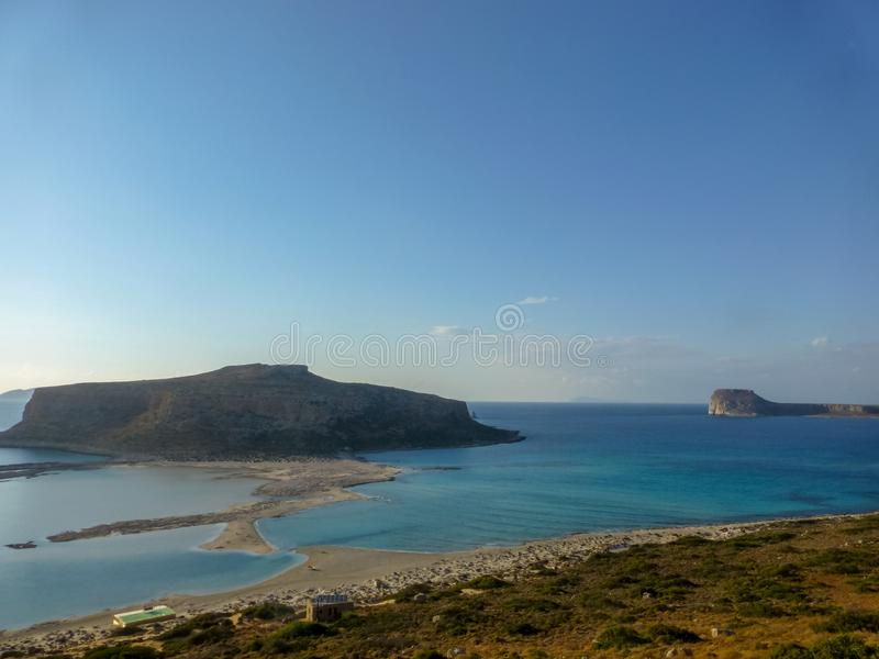 Famous lagoon of Balos beach with white sand and exotic blue and turquoise waters on Crete island, Greece royalty free stock photo