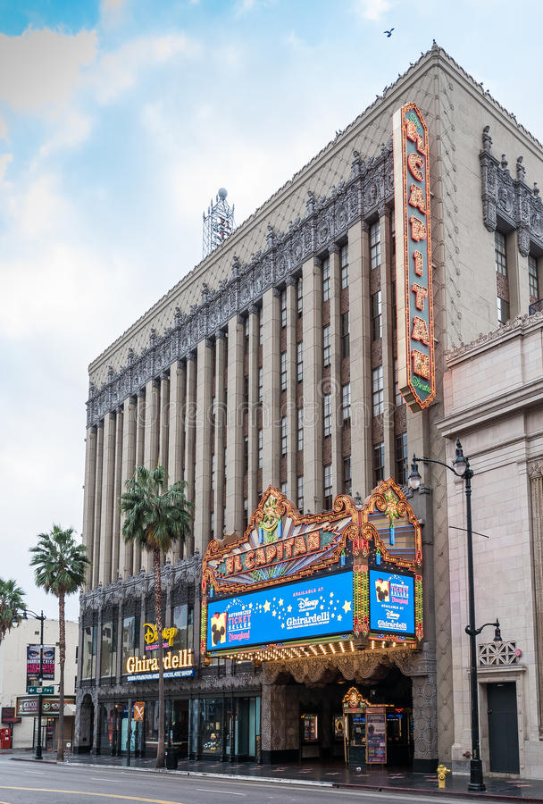 Famous Historic El Capitan Movie Theatre In Hollywood, California. Located on Hollywood Boulevard in the center of movie making and film capital of the world stock images
