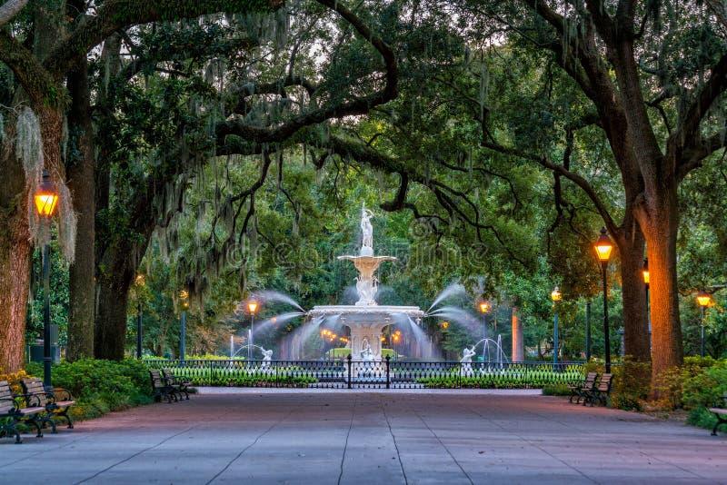Famous historic Forsyth Fountain in Savannah, Georgia stock images