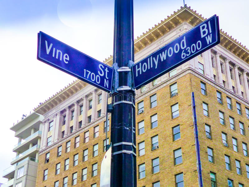 Famous Historic Hollywood Boulevard & Vine Intersection, California. Famous historic Hollywood Boulevard & Vine intersection in Hollywood, California. Located in royalty free stock photos