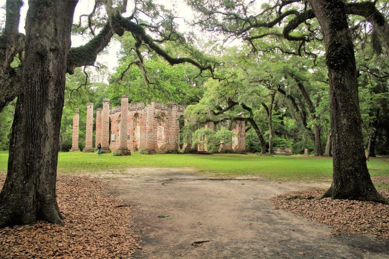 Historic Sheldon Church ruins in Charleston, South Carolina stock photos
