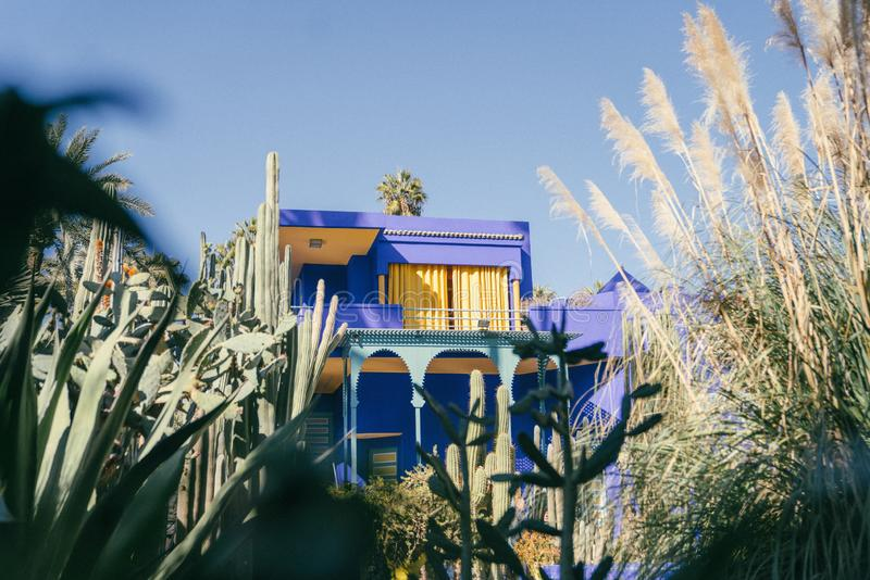 Famous historical Jardin Majorelle museum in Marrakesh, Morocco with a botanical garden. The famous historical Jardin Majorelle museum in Marrakesh, Morocco with stock photo