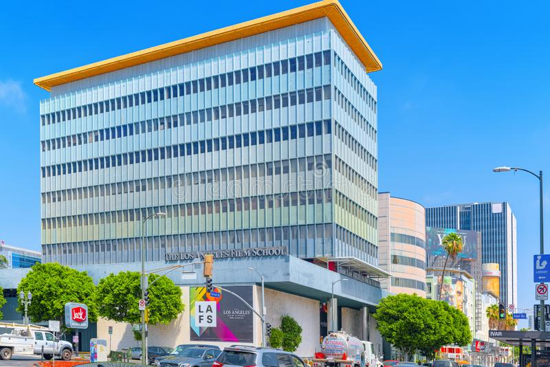 Famous Hollywood Boulevard and Los Angeles Film School. Los Angelos, California, USA - September 04, 2018: Famous Hollywood Boulevard Los Angeles Film School royalty free stock image