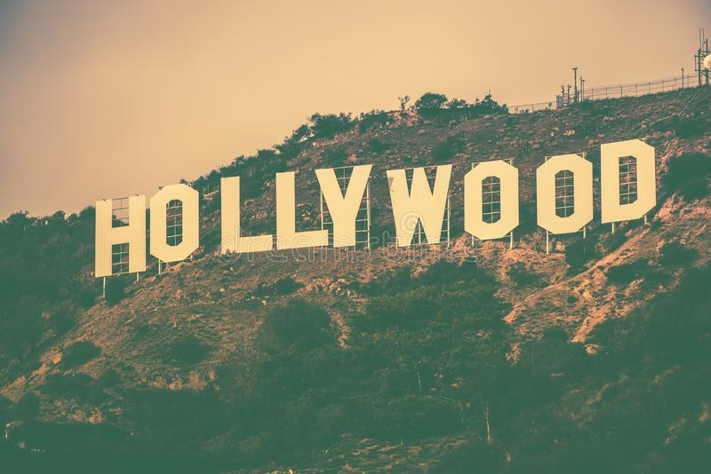 Famous Hollywood Hills. In Los Angeles Metro Area, California, United States. Hollywood Sign in Vintage Color Grading stock photography