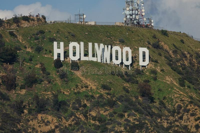 Famous Hollywood Sign from an Angled View During the Day royalty free stock image