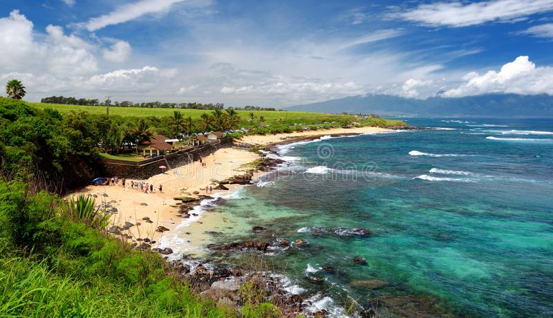 Famous Hookipa beach, popular surfing spot filled with a white sand beach, picnic areas and pavilions. Maui, Hawaii. USA royalty free stock image