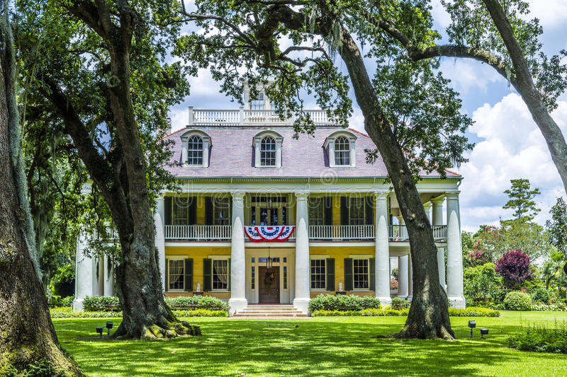 Famous Houmas House plantation. DARROW, USA - JULY 14, 2013: famous Houmas House plantation in Darrow, USA. Irishman John Burnside bought the plantation in 1857 stock image