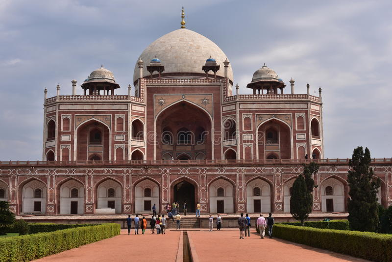 Famous Humayun's Tomb in Delhi, India. It is the tomb of the Mughal Emperor Humayun. Editorial: Delhi, India: March 06th, 2016: Famous Humayun's Tomb in Delhi royalty free stock images
