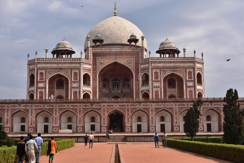 Famous Humayun's Tomb in Delhi, India. It is the tomb of the Mughal Emperor Humayun. Editorial: Delhi, India: March 06th, 2016: Famous Humayun's Tomb in Delhi royalty free stock photography