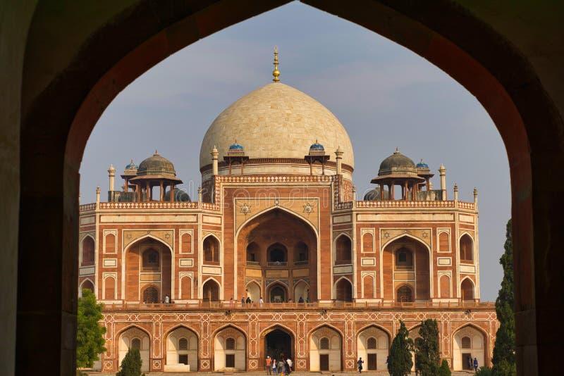 Famous Humayun's Tomb, en mullig arkitekt i New Delhi, Indien, som togs i december 2018 royaltyfria foton