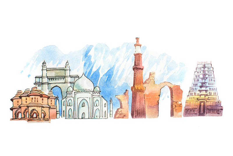 Famous Indian landmarks travel and tourism waercolor illustration.  stock illustration