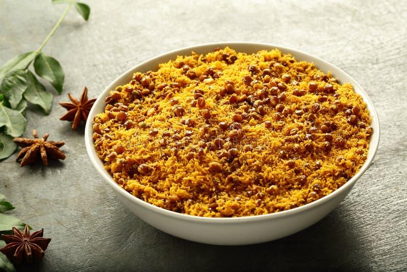 Bowl of Dal biji,moth namkeen  Indian fried snacks royalty free stock photo
