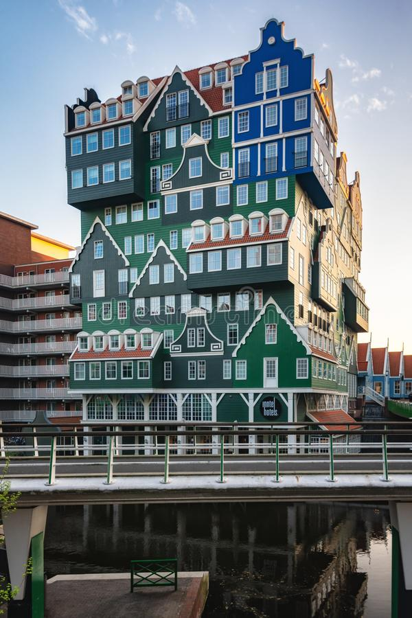 The famous Inntel hotel in the center of Zaandam with on the outside the different facades that were known in historical Zaandam royalty free stock images
