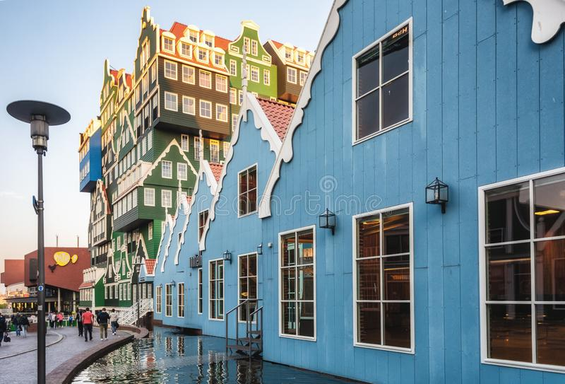 The famous Inntel hotel in the center of Zaandam with on the outside the different facades that were known in historical Zaandam royalty free stock photos