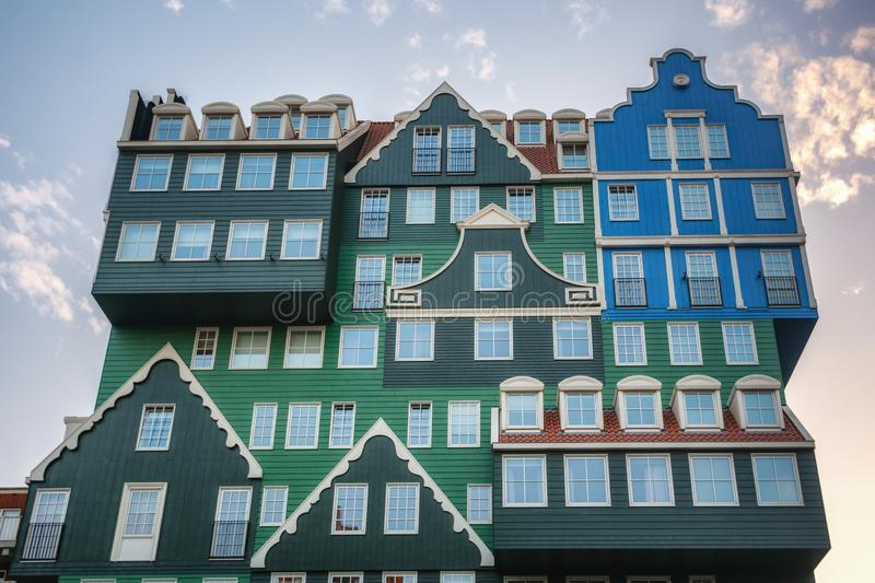The famous Inntel hotel in the center of Zaandam with on the outside the different facades that were known in historical Zaandam royalty free stock photography