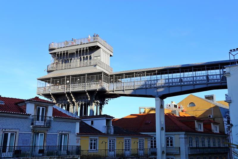 The famous Iron Santa Justa lift in Lisbon Portugal. Elevador de Santa Justa. The famous Iron Santa Justa lift in Lisbon Portugal. Elevador de Santa stock photography