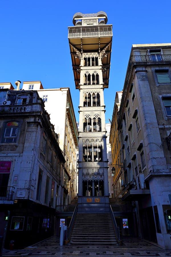 The famous Iron Santa Justa lift in Lisbon Portugal. Elevador de Santa Justa. The famous Iron Santa Justa lift in Lisbon Portugal. Elevador de Santa royalty free stock photo