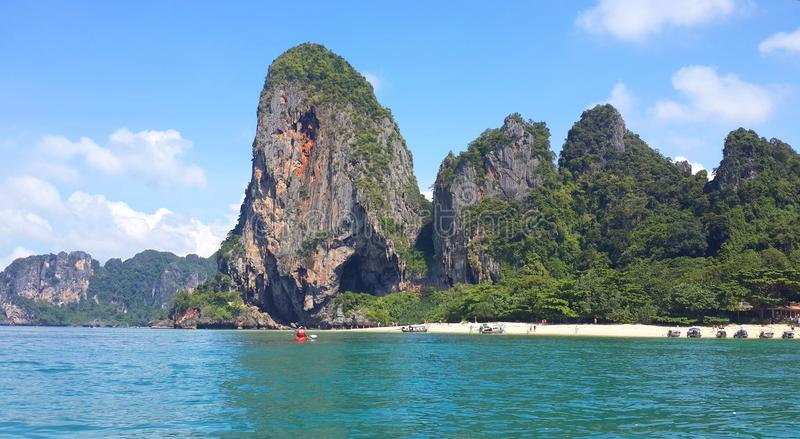 Famous island, crystal clear green turquoise water and tropical white sand beach at Krabi, Andaman sea, Thailand stock photos