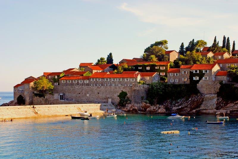 Famous island-hotel Sveti Stefan, Montenegro stock photography