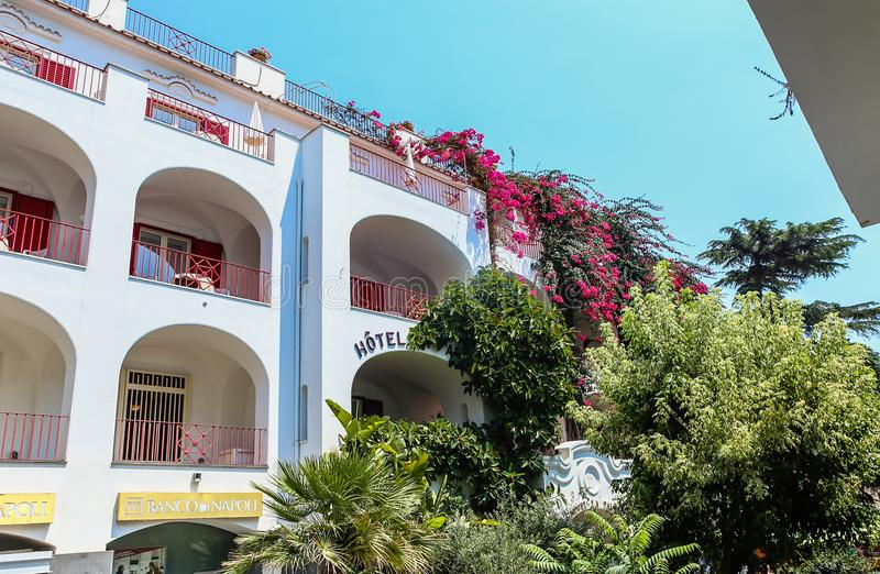 Famous Isle of Capri in Italy and the Famous. Hotel La Palma royalty free stock images