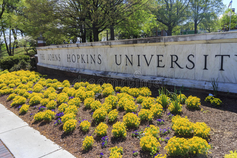 The famous Johns Hopkins University. In the beautiful Baltimore, United States stock photography