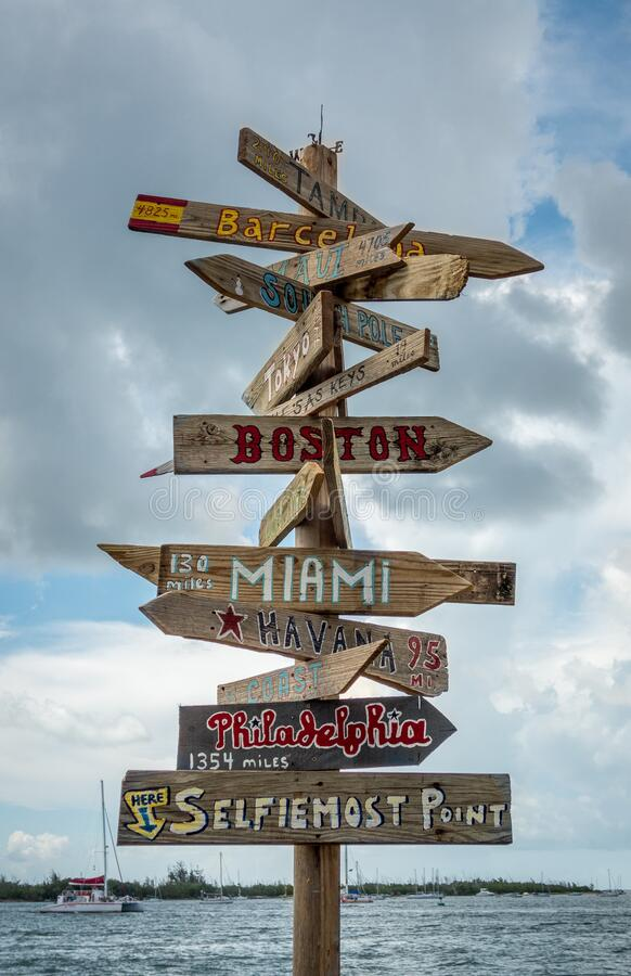 Famous Key West habour sign post with distances to major cities aka Selfiemost Point royalty free stock photos