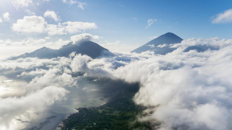 Famous Kintamani mountain near Batur lake. Aerial view of famous Kintamani mountain near Batur lake in Bali, Indonesia stock photography