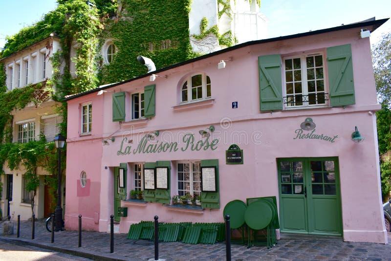 Famous La Maison Rose cafe restaurant located at Montmartre. Paris, France. Paris, France. August 12, 2019. View of La Maison Rose located at Rue de L royalty free stock image