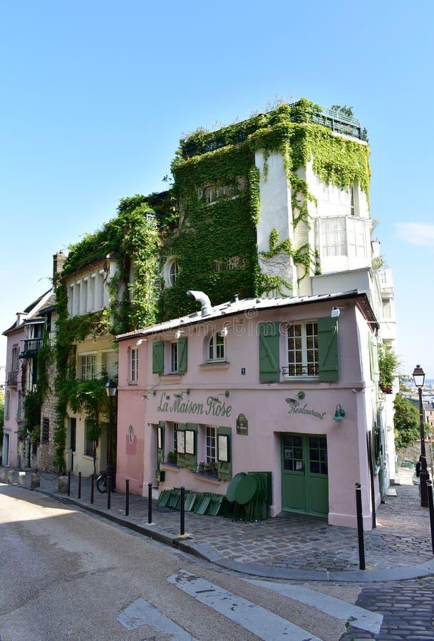 Famous La Maison Rose cafe restaurant located at Montmartre. Paris, France. Paris, France. August 12, 2019. View of La Maison Rose located at Rue de L' stock photography