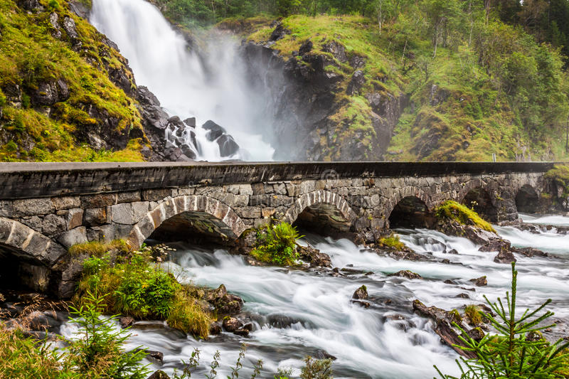 The famous Laatefossen in Odda, one of the biggest waterfalls in stock photography