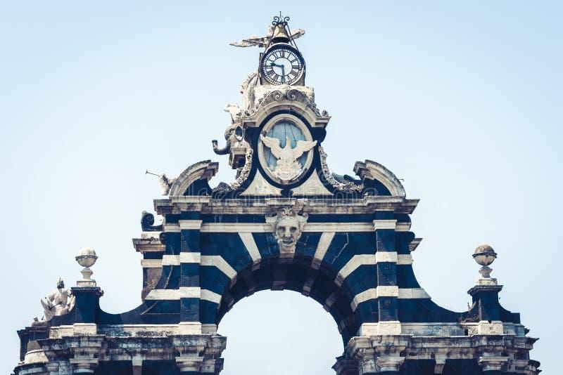 Famous landmark – gate Porta Garibaldi in Catania, Sicily, Italy.  stock images